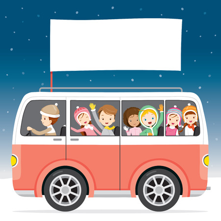 cartoon land: Children On Bus With Flag Driving To Travel, Activity, Travel, Winter, Season, Vacation Illustration