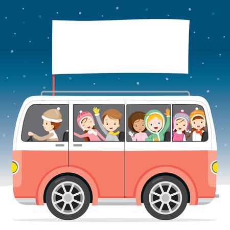 Kinderen Op Bus Met Vlag Driving To Travel, activiteit, reizen, Winter, seizoen, Vakantie