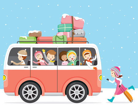 Children Happy To Travel By Bus, Activity, Travel, Winter, Season, Vacation