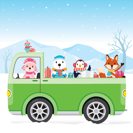 cartoon land: Animal On Pick Up Driving To Travel, Animal, Activity, Travel, Winter, Season, Vacation Illustration