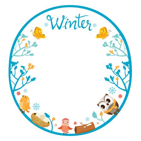 animal frame: Winter Tree With Animal On Circle Frame, Animal, Activity, Travel, Winter, Season, Vacation