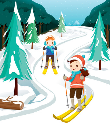 earmuff: Boy And Girl Skiing, Activity, Travel, Winter, Season, Vacation, holiday, Nature, Object