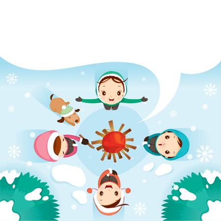 holiday vacation: Girls And Dog Around Campfire, Activity, Travel, Winter, Season, Vacation, holiday, Nature, Object