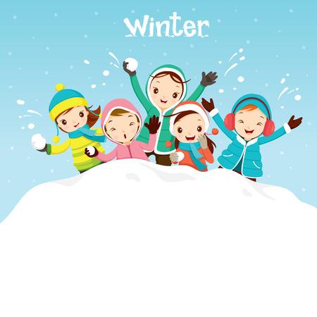 mujeres y niños: Niños que juegan nieve Juntos, Viajes, invierno, estación, vacaciones, día de fiesta, naturaleza, objeto Vectores
