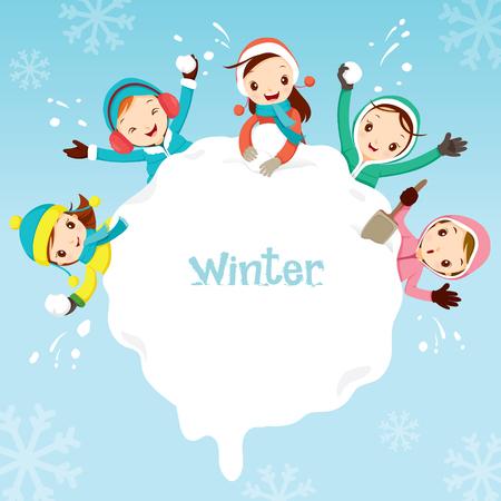 snowdrift: Children Playing Snow Together Around Snowdrift, Activity, Travel, Winter, Season, Vacation, holiday, Nature, Object