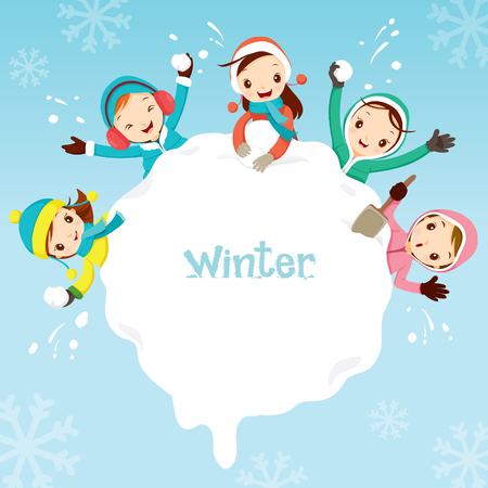Children Playing Snow Together Around Snowdrift, Activity, Travel, Winter, Season, Vacation, holiday, Nature, Object