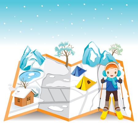 slalom: Boy Skiing On Map With Winter Landscape, Activity, Travel, Winter, Season, Vacation, holiday, Nature, Object Illustration