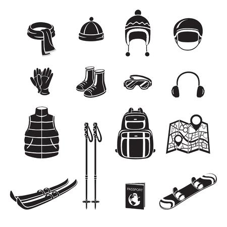 slalom: Winter Equipment Monochrome Icons Set, Equipment, Winter, Season, Vacation, holiday, Object, Activity, Travel Illustration