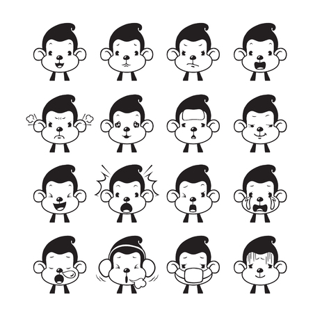 agape: Monkey Emoticons set, Monochrome , Animal, Emoji, Facial Expression, Face, Feeling, Mood, Symbol