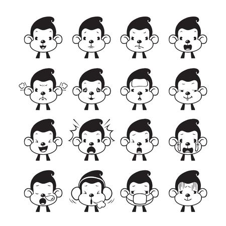 Monkey Emoticons set, Monochrome , Animal, Emoji, Facial Expression, Face, Feeling, Mood, Symbol