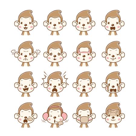 Monkey Emoticons set , Animal, Emoji, Facial Expression, Face, Feeling, Mood, Symbol