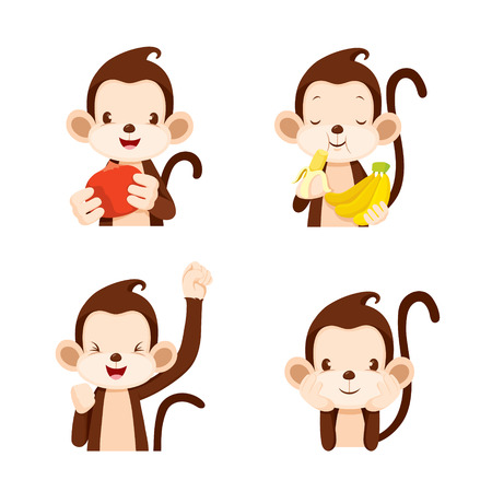 eating food: Monkey Actions Set, Animal, Action, Eating, Food, Objects Illustration