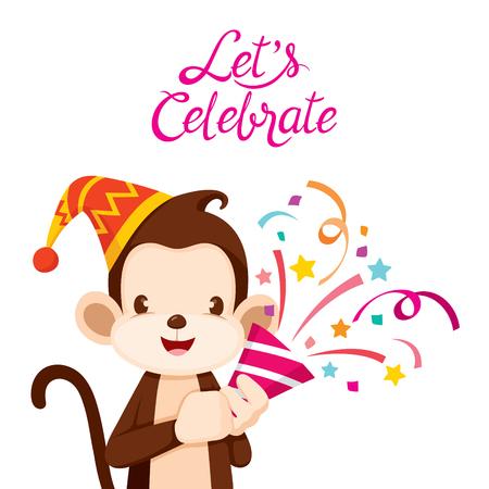 cheerful cartoon: Monkey Fun With Party, Animal, Celebration, Festive, Aniversary