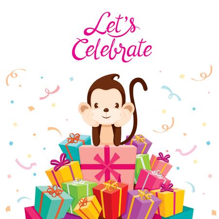 aniversary: Monkey With Pile Of Gifts, Animal, Celebration, Festive, Aniversary