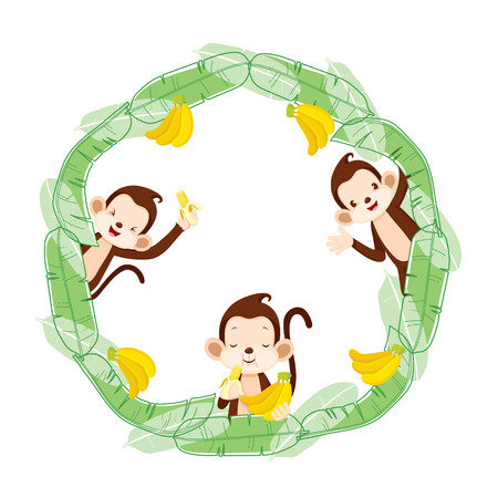 platano caricatura: Monkey And Banana On Circle Frame, Animal, Celebration, Festive, Aniversary