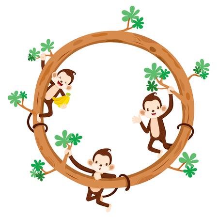 aniversary: Monkey And Banana On Circle Frame, Animal, Celebration, Festive, Aniversary