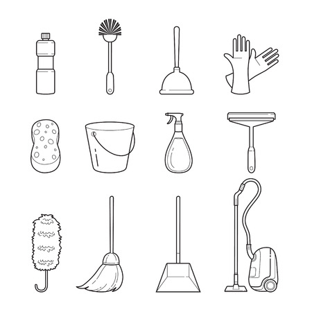 protective glove: Cleaning, Home Appliances Outline Icons Set, Housework, Appliance, Domestic Tools, Computer Icon, Cleaning, Symbol, Icon Set, Spring Season Illustration