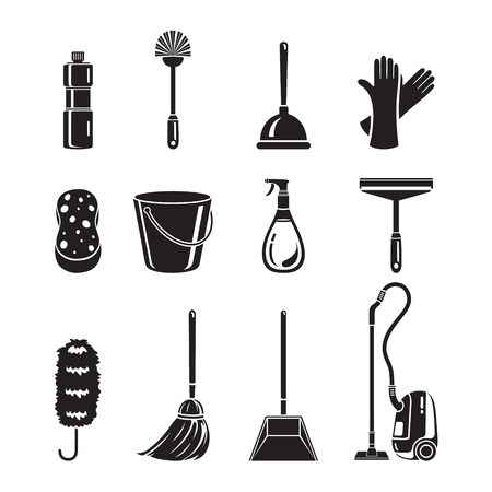 bathroom cartoon: Cleaning, Home Appliances Icons Set, Monochrome, Housework, Appliance, Domestic Tools, Computer Icon, Cleaning, Symbol, Icon Set, Spring Season