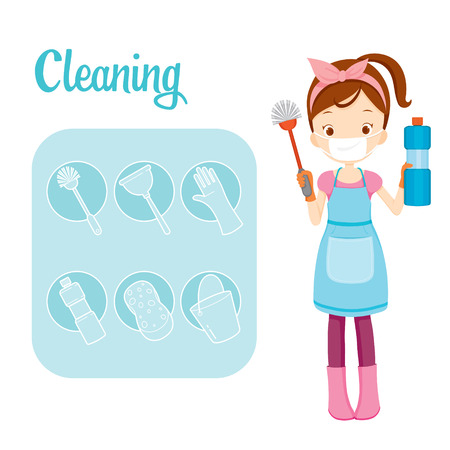 spring cleaning: Girl With Toilet Cleaning Equipment And Outline Icons Set, Housework, Appliance, Domestic Tools, Computer Icon, Cleaning, Symbol, Icon Set, Spring Season