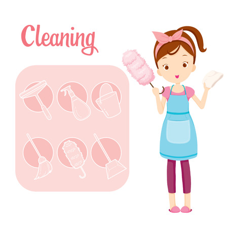 spring cleaning: Girl With House Cleaning Equipment And Outline Icons Set, Housework, Appliance, Domestic Tools, Computer Icon, Cleaning, Symbol, Icon Set, Spring Season