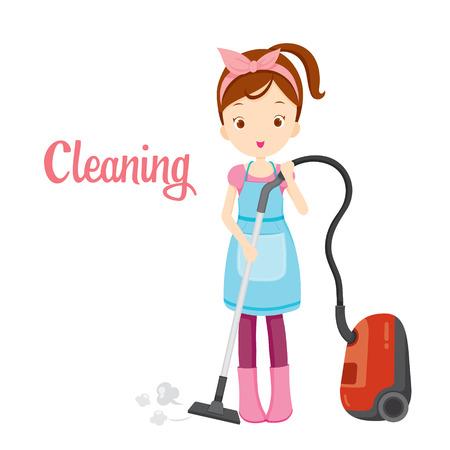 Muchacha con el aspirador, tareas del hogar, electrodomésticos, herramientas domésticas, Icono de ordenador, limpieza, Símbolo, Icon Set, estación de primavera Ilustración de vector