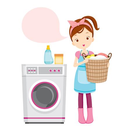 Girl With Machine à laver, ménage, appareils, outils domestiques, Icône d'ordinateur, Nettoyage, Symbole, Icon Set, Spring Season