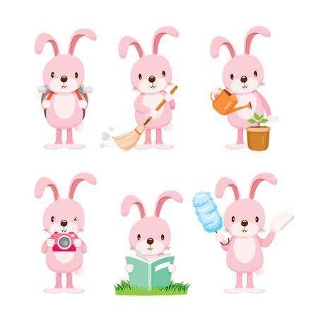 Acciones conejo rosa set, tareas del hogar, electrodomésticos, herramientas domésticas, Icono de ordenador, Servicio, Símbolo, Icon Set, estación de primavera