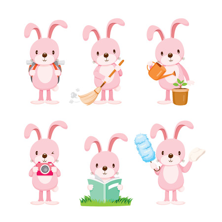conejo: Acciones conejo rosa set, tareas del hogar, electrodomésticos, herramientas domésticas, Icono de ordenador, Servicio, Símbolo, Icon Set, estación de primavera