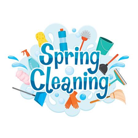 Spring Cleaning Lettre de décoration et de l'équipement de nettoyage, ménage, appareils, outils domestiques, Icône d'ordinateur, nettoyage, Symbole, Icon Set, Spring Season Banque d'images - 54346195