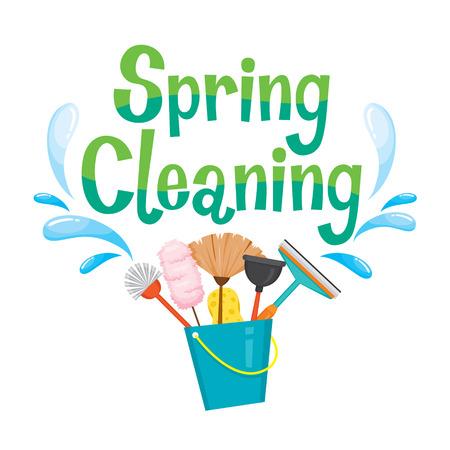 Spring Cleaning Brief Dekorieren und Reinigungsgeräte, Hausarbeit, Appliance, Haus Werkzeuge, PC-Bildschirmsymbol, Reinigung, Symbol, Symbol-Set, Spring Season Vektorgrafik