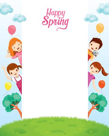 animal frame: Children Relaxing On Frame, Spring Season, Nature, Children, Animal, Flower Illustration