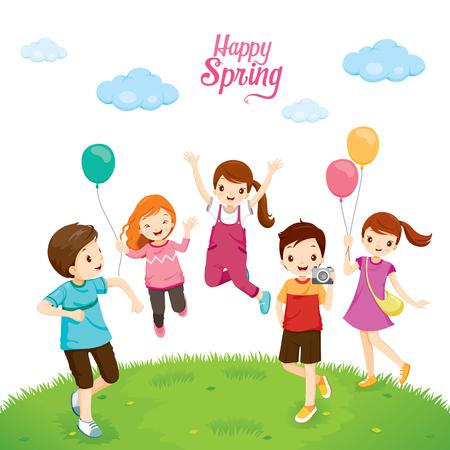 Happiness Children Relaxing On Lawn, Spring Season, Nature, Children, Animal, Flower