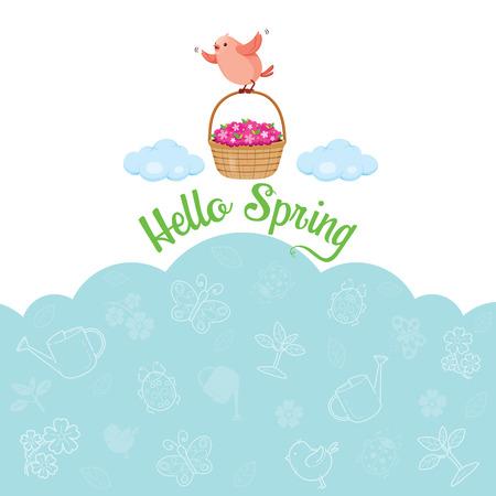 flower basket: Flying Bird And Flower Basket With Icons, Spring Season, Nature, Children, Animal, Flower
