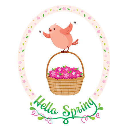 flower basket: Flying Bird And Flower Basket In Floral Frame With Lettering, Spring Season, Nature, Children, Animal, Flower Illustration