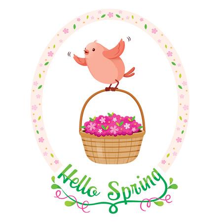 animal frame: Flying Bird And Flower Basket In Floral Frame With Lettering, Spring Season, Nature, Children, Animal, Flower Illustration
