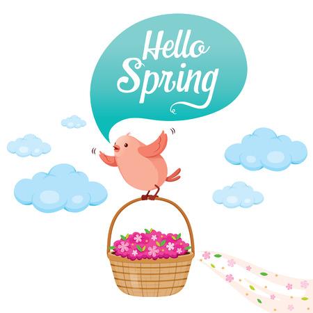 flower basket: Flying Bird And Flower Basket On Sky With Talking Bubble, Spring Season, Nature, Children, Animal, Flower