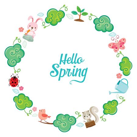 zanahoria caricatura: Animal, �rbol, hoja y flor en marco del c�rculo, estaci�n de primavera, naturaleza, ni�os, animal, flor