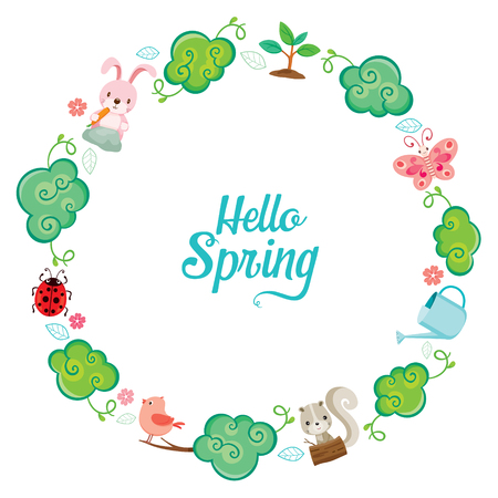 butterfly rabbit: Animal,Tree, Leaf And Flower On Circle Frame, Spring Season, Nature, Children, Animal, Flower Illustration