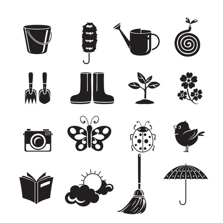 rubber tube: Spring Icons Set, Monochrome, Gardening, Housework, Appliance, Domestic Tools, Computer Icon, Cleaning, Symbol, Icon Set, Spring Season