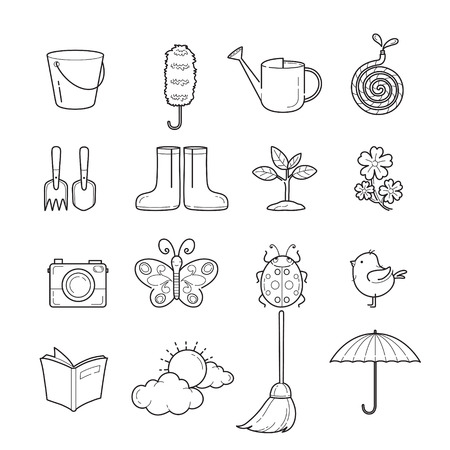 spring cleaning: Spring Outline Icons Set, Gardening, Housework, Appliance, Domestic Tools, Computer Icon, Cleaning, Symbol, Icon Set, Spring Season Illustration