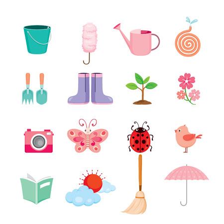 Zestaw ikon wiosna, ogrodnictwo, prace domowe, sprzęt gospodarstwa domowego, ikona komputera, czyszczenie, symbol, zestaw ikon, sezon wiosny Ilustracje wektorowe