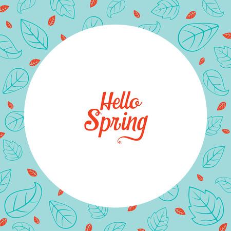 spring leaf: Leaf Pattern Border With Hello Spring Lettering, Spring Season, Lettering, Frame, Border, Nature
