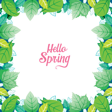 verdant: Green Leaf Border With Hello Spring Lettering, Spring Season, Lettering, Frame, Border, Nature