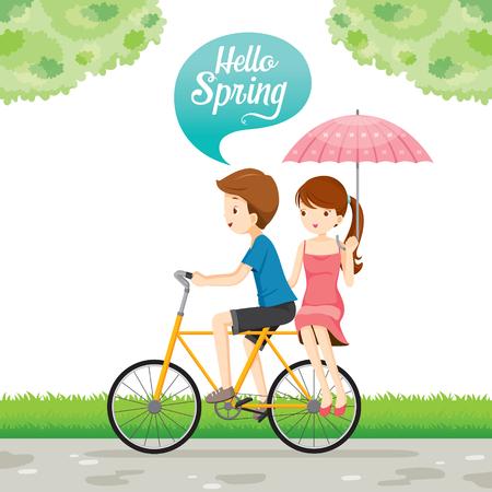 enamorados caricatura: El hombre montado en la bicicleta y de la mujer que se sienta detrás, estación de primavera, letras, transporte, vehículo, Ejercicio