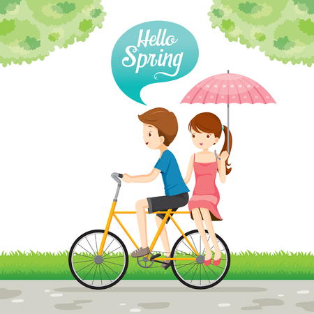 Man Riding Bicycle And Woman Sitting Behind, Spring Season, Lettering, Transportation, Vehicle, Exercise