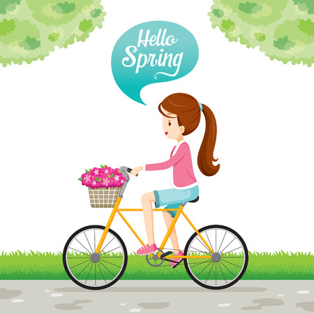 Girl Riding Bicycle With Flower In Basket Front Of Bicycle, Spring Season, Lettering, Transportation, Vehicle, Exercise