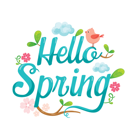 hello: Hello Spring Letter Decorating With Animal, Leaf And Flower, Spring Season, Lettering, Animal, Nature Illustration