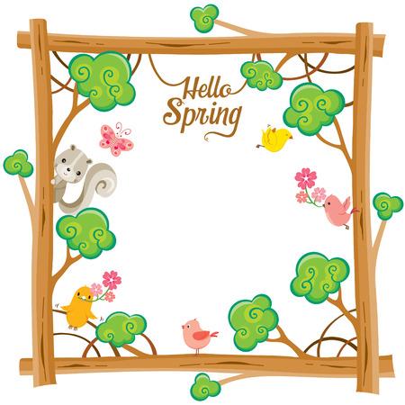 Tree With Animal On Square  Frame, Spring Season, Lettering, Frame, Border, Animal, Nature