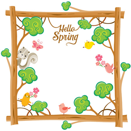 spring: Tree With Animal On Square  Frame, Spring Season, Lettering, Frame, Border, Animal, Nature