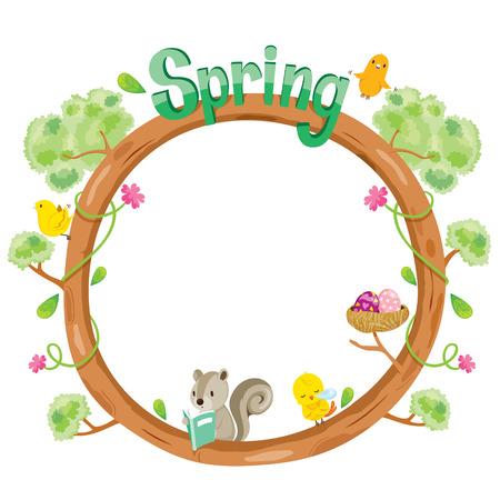 animal frame: Tree With Animal On Circle Frame, Spring Season, Lettering, Frame, Border, Animal, Nature